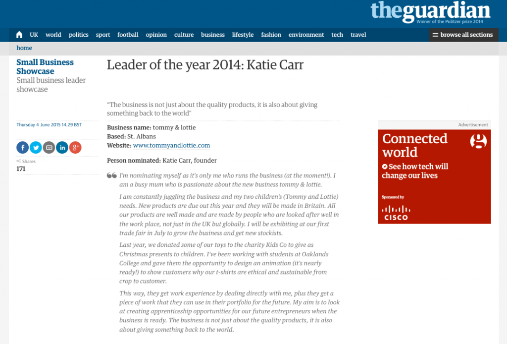 Leader of the year 2014 Katie Carr