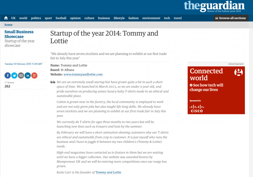 guardian startup of the year 2014 Tommy and Lottie