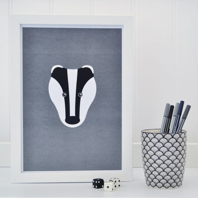 Tommy & Lottie A4 Grey Badger Print