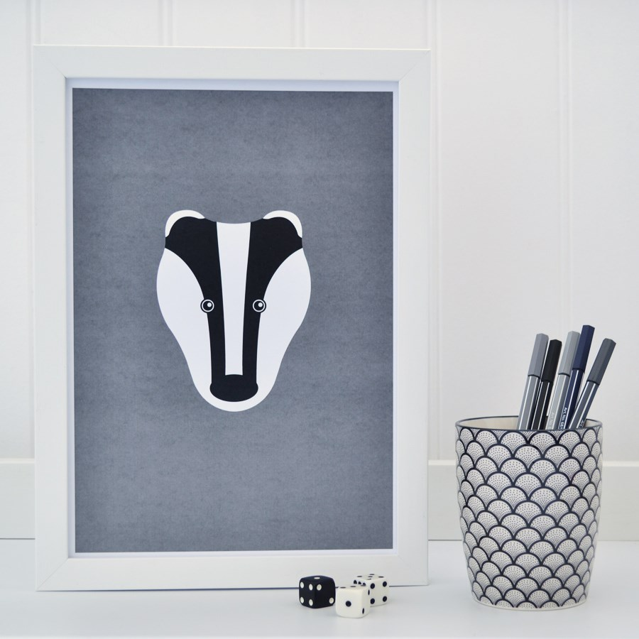 Grey Badger Print