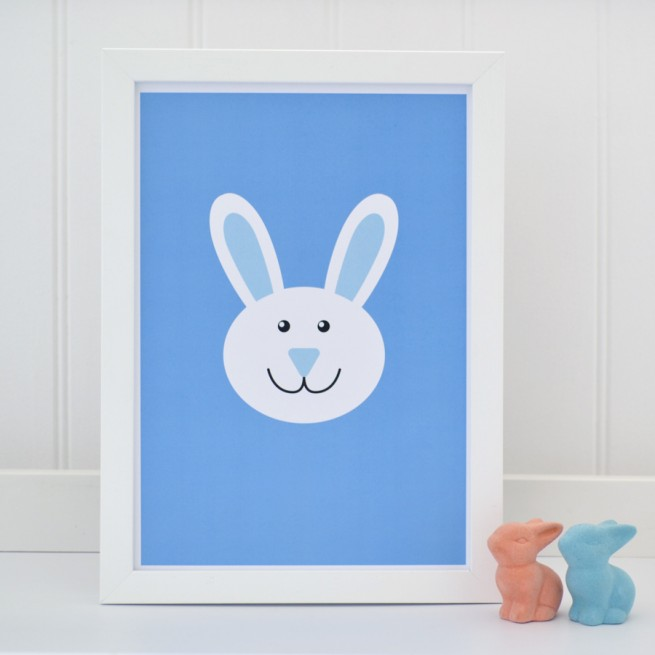 A4 white bunny on blue print