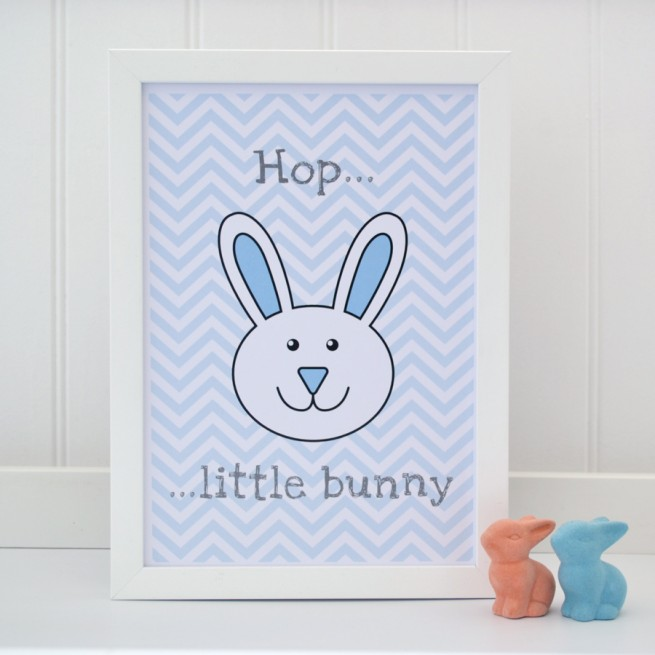Hop Little Bunny Blue Nursery Picture