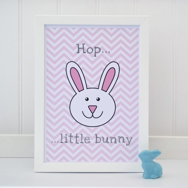Hop little bunny A4 pink print