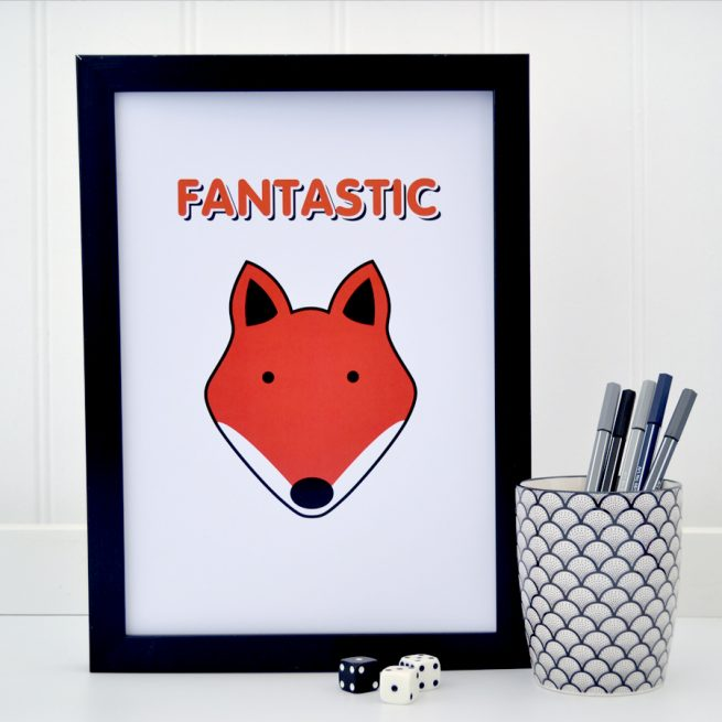Fantastic fox on white A4 print - tommy and lottie