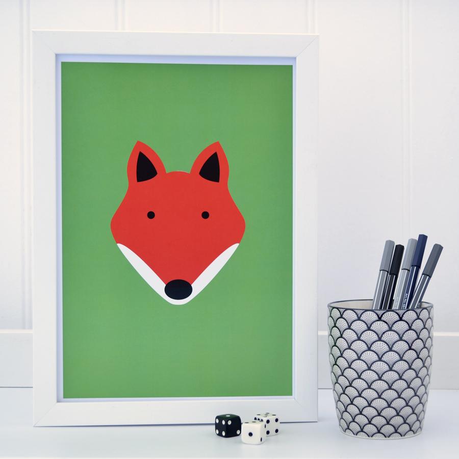 Green fox print