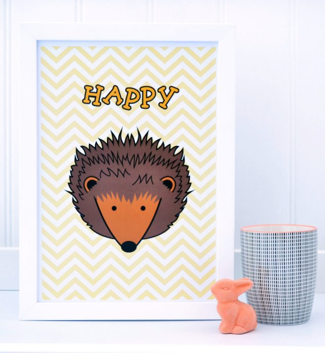 happy hedgehog zig zag yellow print
