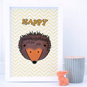 HAPPY HEDGEHOG CHEVRON PRINT