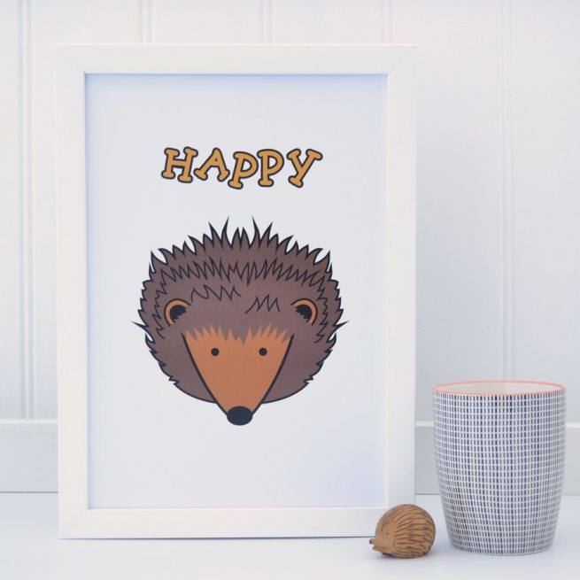 happy hedgehog white A4 print