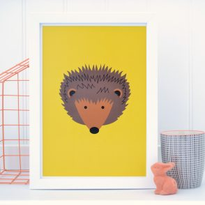 tommy and lottie Hedgehog wall print yellow - A4