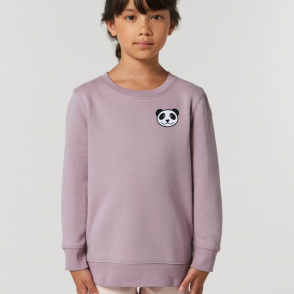 tommy & lottie childrens organic cotton panda sweatshirt - lilac petal