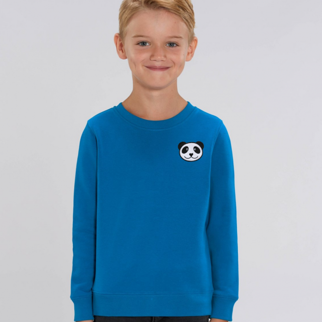 tommy & lottie childrens organic panda sweatshirt - blue