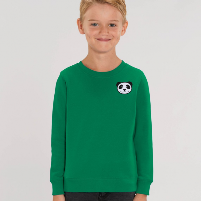 tommy & lottie childrens organic panda sweatshirt - green