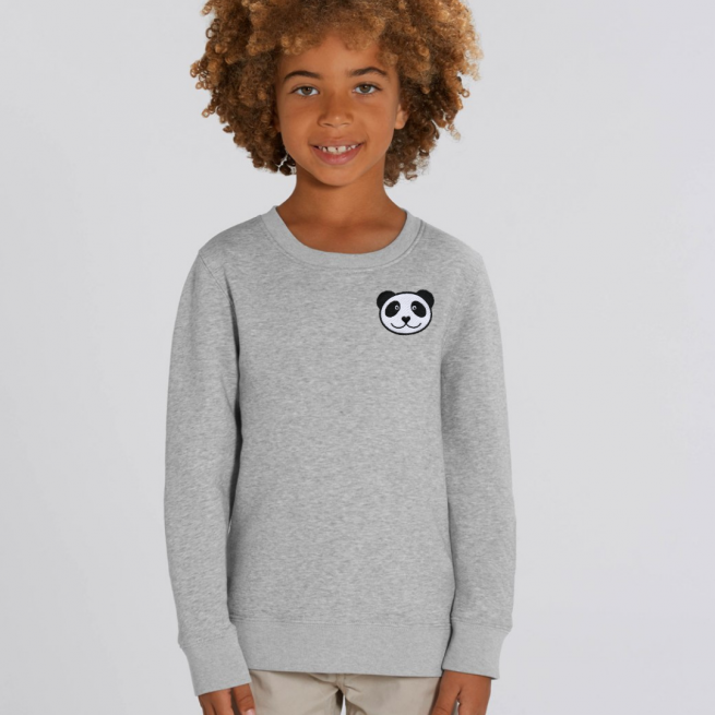 tommy & lottie childrens organic panda sweatshirt - grey marl
