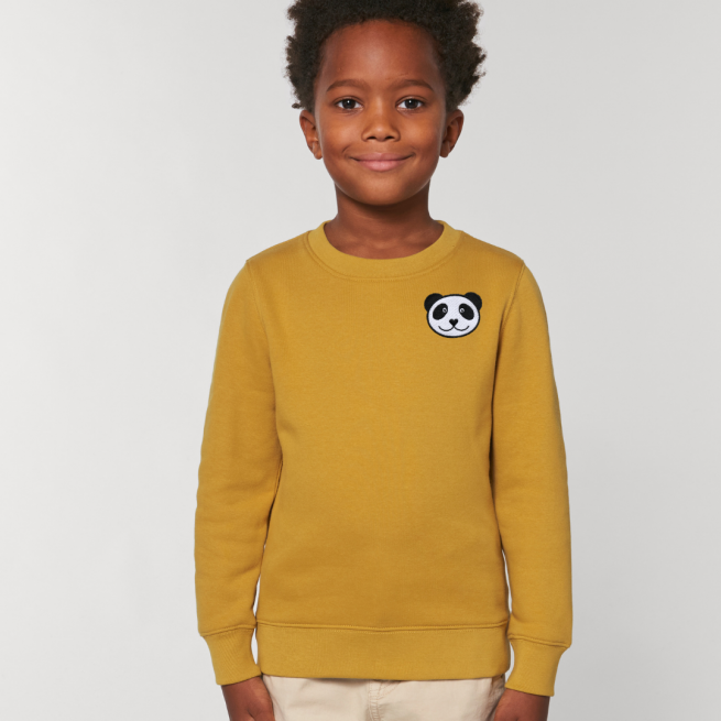 tommy & lottie childrens organic panda sweatshirt - ochre