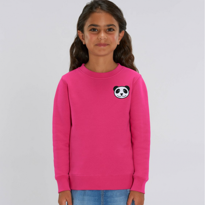 tommy & lottie childrens organic panda sweatshirt - pink