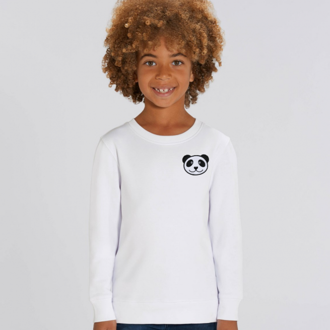 tommy & lottie childrens organic panda sweatshirt - white