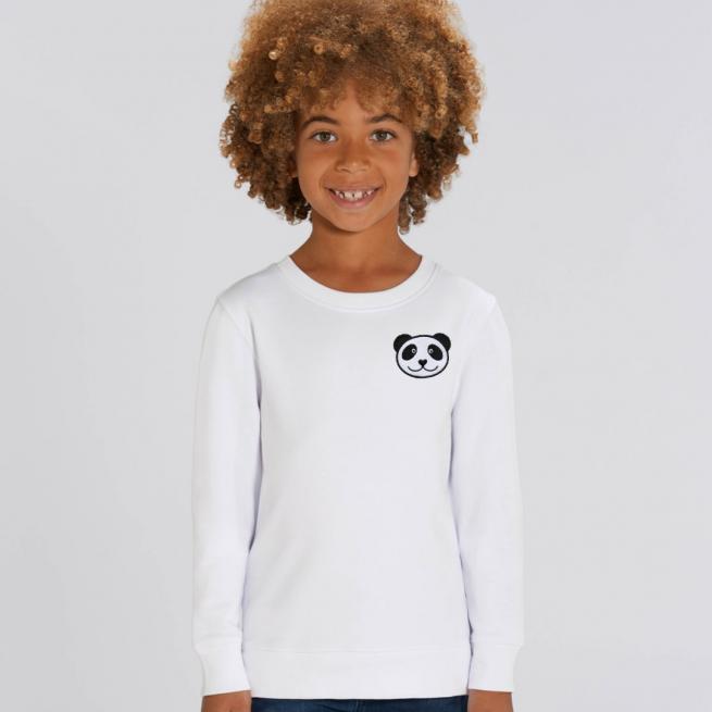 tommy & lottie childrens organic panda sweatshirt - white
