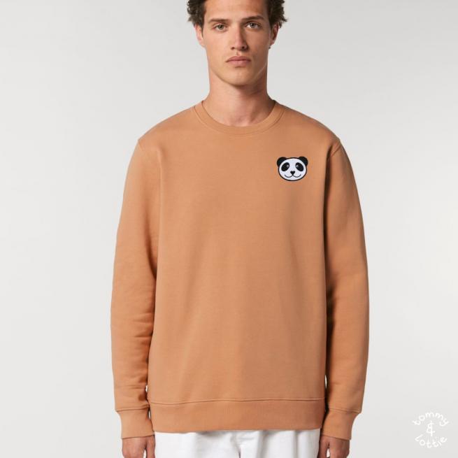 tommy and lottie adults organic cotton panda sweatshirt - mushroom