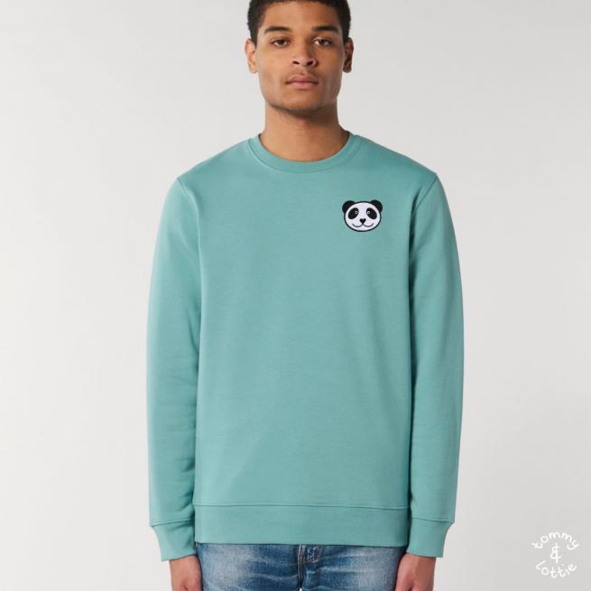 tommy and lottie adults organic cotton panda sweatshirt - teal monstera