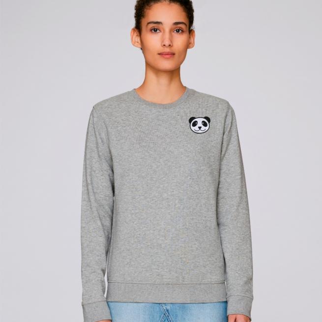 tommy and lottie adults organic panda sweatshirt - grey marl