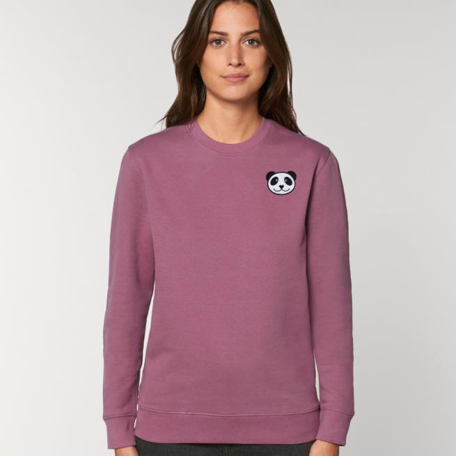 tommy and lottie adults organic panda sweatshirt - mauve