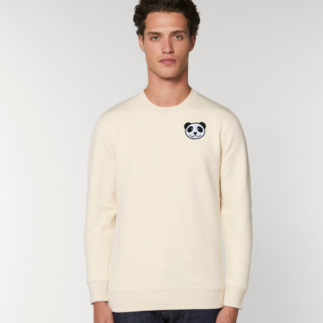 tommy and lottie adults organic panda sweatshirt - natural