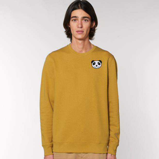 tommy and lottie adults organic panda sweatshirt - ochre