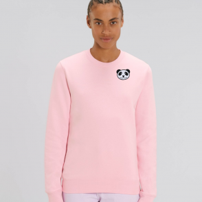 tommy and lottie adults organic panda sweatshirt - pale pink