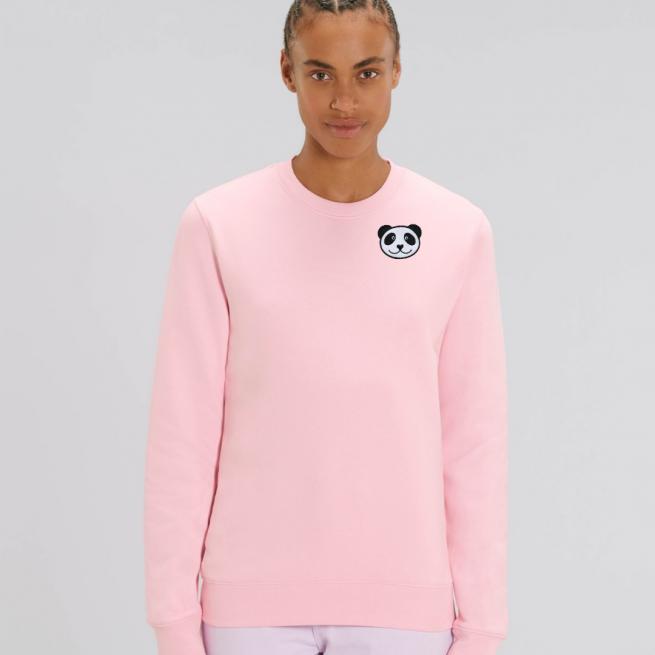 tommy and lottie adults organic panda sweatshirt - pale pink