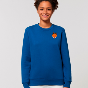 tommy and lottie adults organic cotton fox sweatshirt - blue