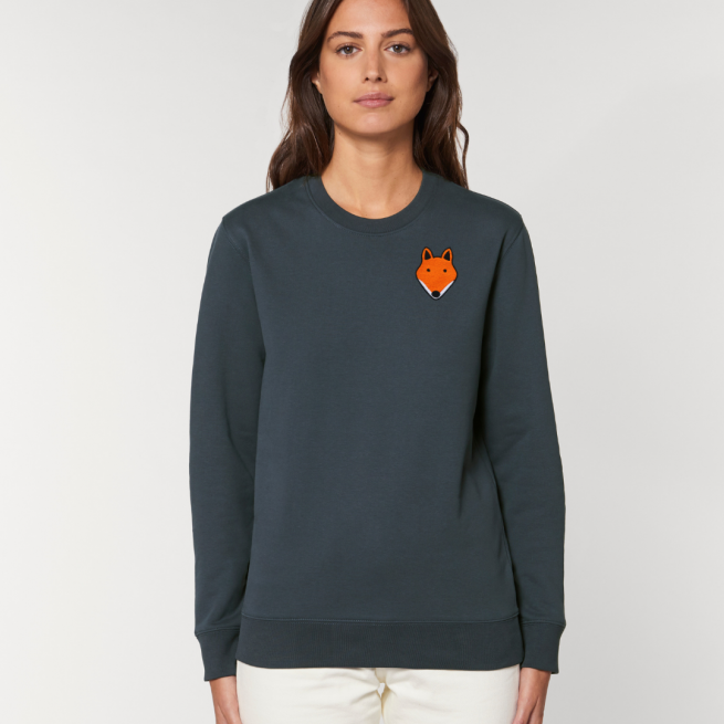 tommy and lottie adults organic cotton fox sweatshirt - ink grey