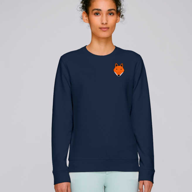 tommy and lottie adults organic cotton fox sweatshirt - navy