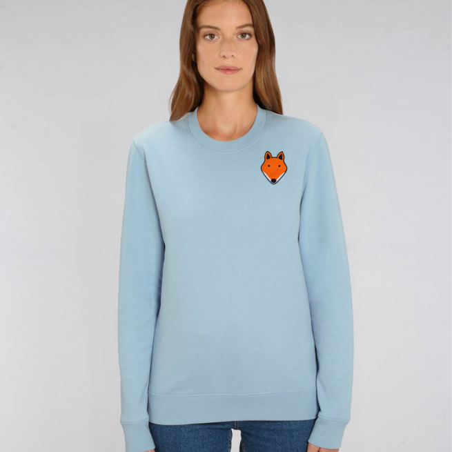 tommy and lottie adults organic cotton fox sweatshirt - pale blue