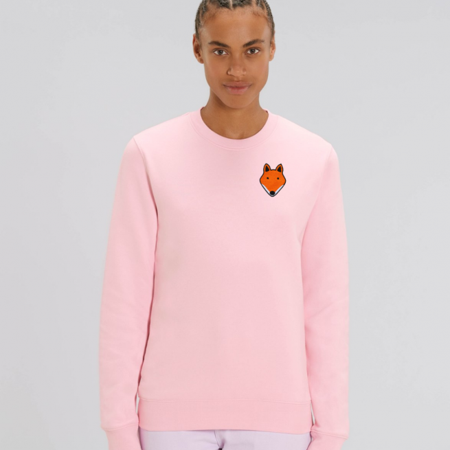 tommy and lottie adults organic cotton fox sweatshirt - pale pink