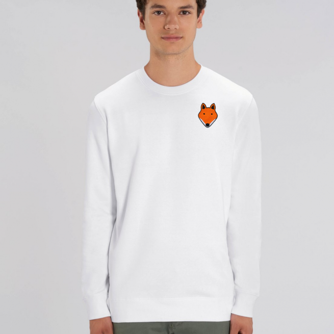 tommy and lottie adults organic cotton fox sweatshirt - white
