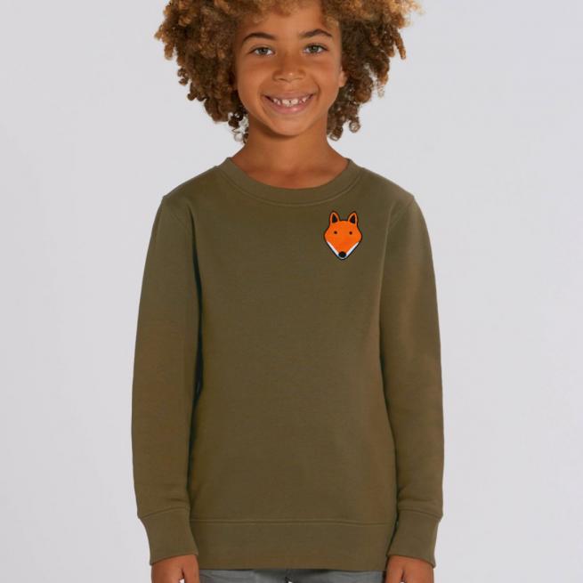 tommy & lottie childrens organic cotton fox sweatshirt - khaki
