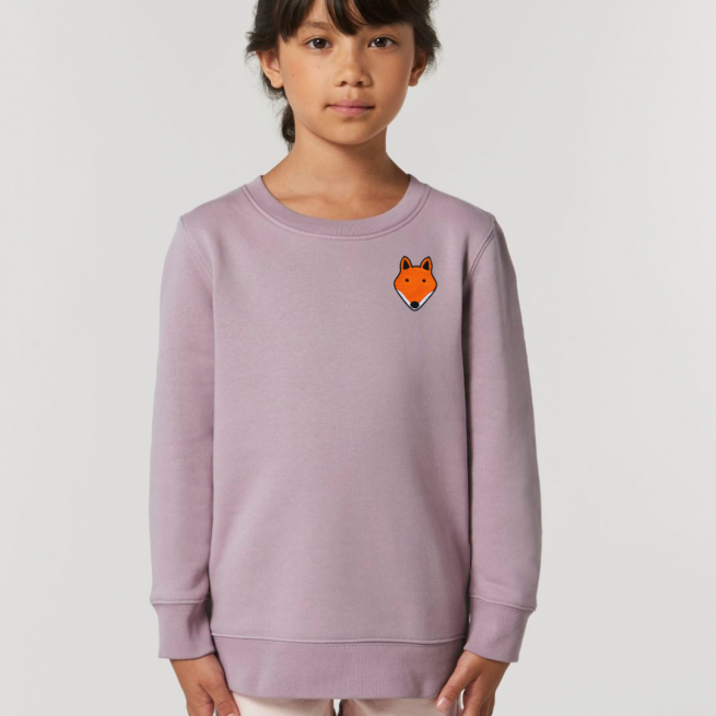tommy & lottie childrens organic cotton fox sweatshirt - lilac petal