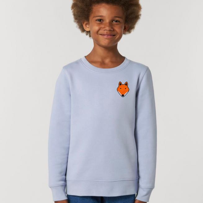 tommy & lottie childrens organic cotton fox sweatshirt - serene blue