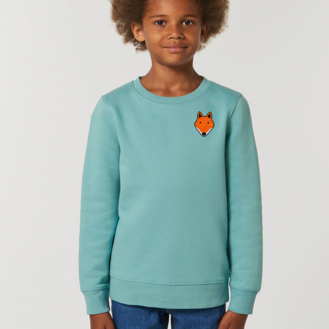 tommy & lottie childrens organic cotton fox sweatshirt - teal monstera