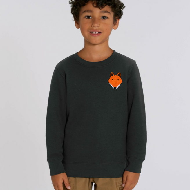 tommy and lottie childrens organic fox sweatshirt - black