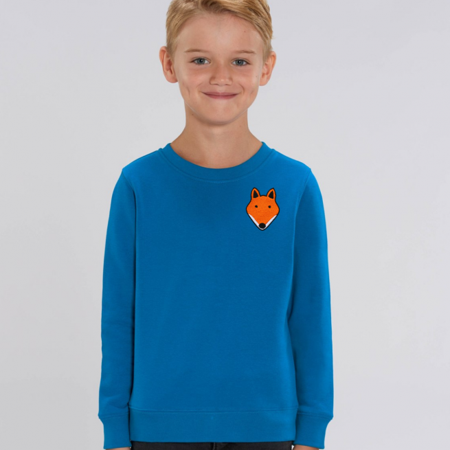 tommy and lottie childrens organic fox sweatshirt - blue