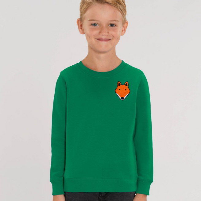 tommy and lottie childrens organic fox sweatshirt - green