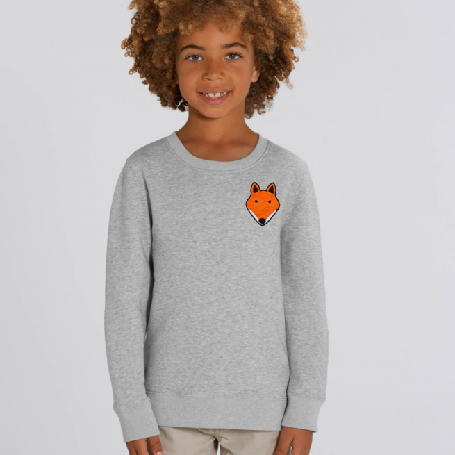 tommy and lottie childrens organic fox sweatshirt - grey marl