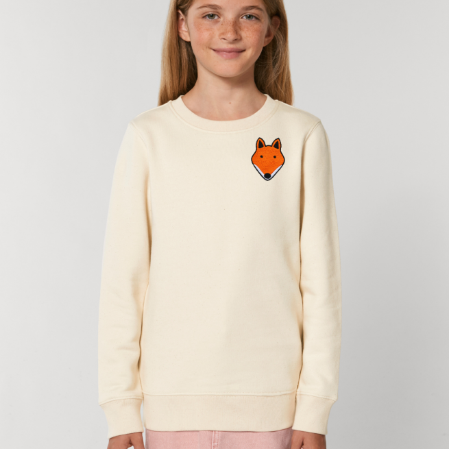 tommy and lottie childrens organic fox sweatshirt - natural