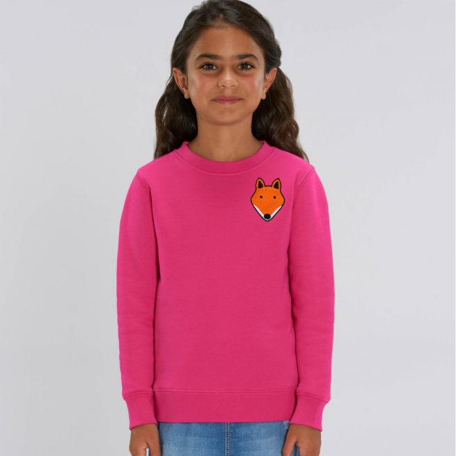 tommy and lottie childrens organic fox sweatshirt - pink