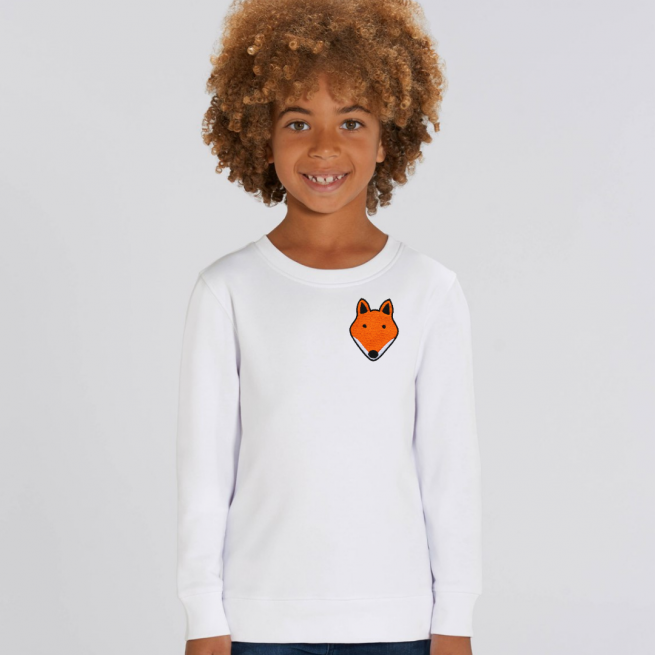 tommy and lottie childrens organic fox sweatshirt - white