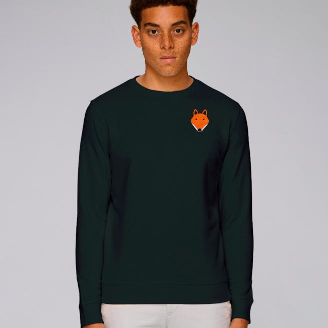 tommy and lottie adults organic cotton fox sweatshirt - black