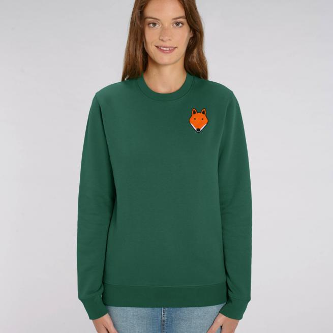 tommy and lottie adults organic cotton fox sweatshirt - bottle green