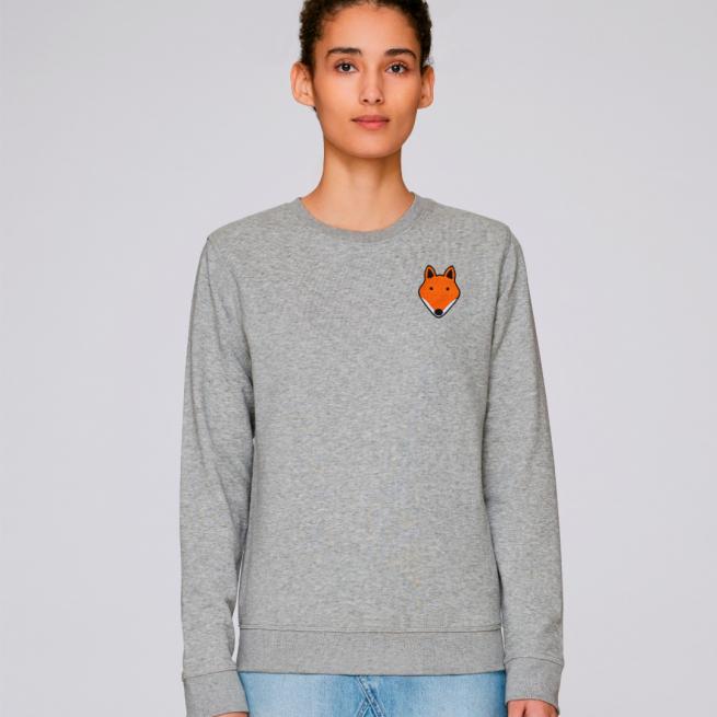 tommy and lottie adults organic cotton fox sweatshirt - grey marl