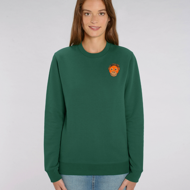 tommy and lottie adults organic cotton save the orangutan sweatshirt - bottle green